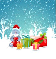 Christmas bunny with present gift boxes santa bag vector