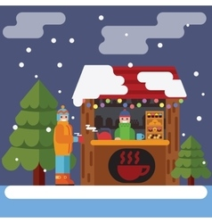 Christmas market flat vector