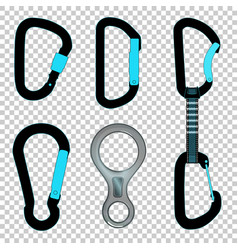 Climbing carabiners set quickdraw and figure eight vector