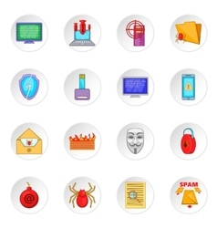 Computer security icons set vector