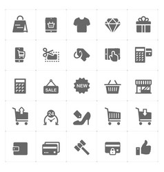con set - shopping and commerce solid icon vector image