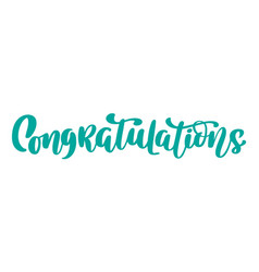 Congratulations hand drawn text trendy hand vector