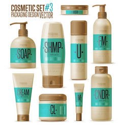 Cosmetic brand template Realistic bottle set vector image