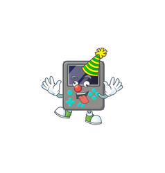 Cute and funny clown game console cartoon mascot vector