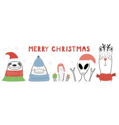 Cute animals christmas card vector