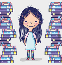 cute girl with books vector image