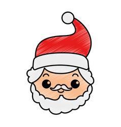 cute santa claus head kawaii character vector image