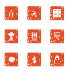 Cyber diversion icons set grunge style vector