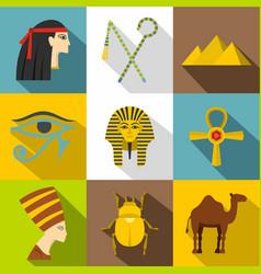 Egypt travel icon set flat style vector