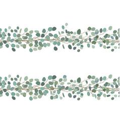 elegant seamless borders eucalyptus branches vector image