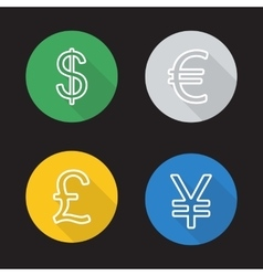Exchange rates flat linear icons set vector image