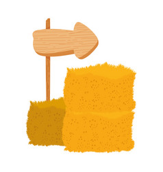 Farm guide arrow in wooden and bale hay vector