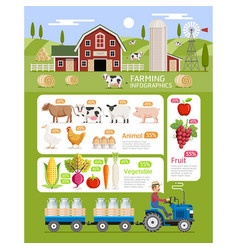 Farming infographic elements template vector