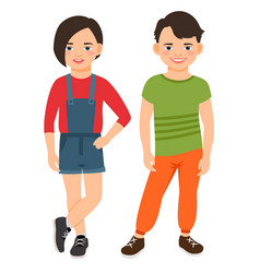 Fashion teen boy and girl characters vector