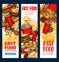 fast food banners for fast food restaurant vector image