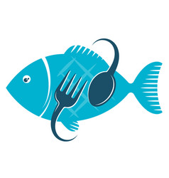 fish food fork and spoon vector image