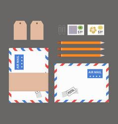 flat lay office stuff vector image