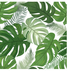 floral seamless pattern tropical leaves vector image