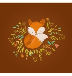 Fox sleeping on the flowers vector image