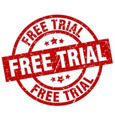 Free trial round red grunge stamp vector