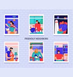 friendly neighbors windows vector image