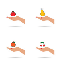 fruit in hands set vector image