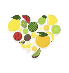 Fruit in heart summer set fruits vector