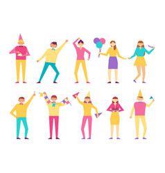 funny people celebrate birthday party together set vector image