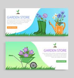 Garden store banner set decor vector