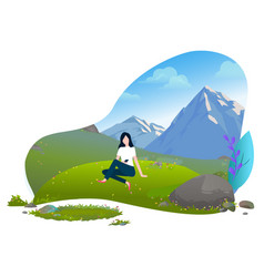 girl sitting on grass mountains background vector image