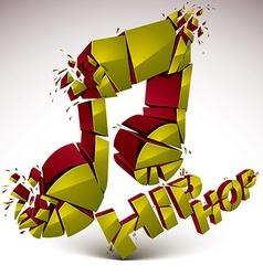 Green 3d musical note broken into pieces explosion vector
