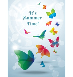 Greeting card with butterflies vector image