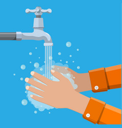 Hands under falling water out of tap vector