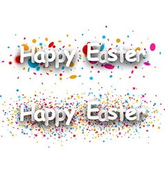 Happy easter paper banners vector