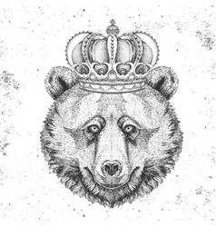 Hipster animal bear in crown vector