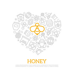 honey thin line icons in heart shape design vector image