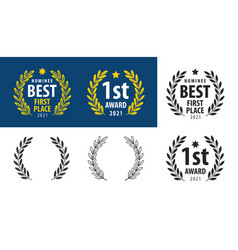 laurel wreaths set award reward symbol vector image
