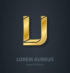 Letter V elegant gold font Template for company vector image