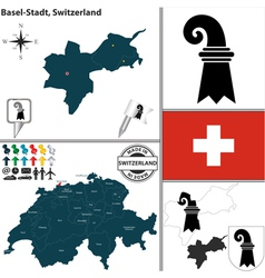 Map of Basel Stadt vector image