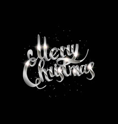 merry christmas hand drawn silver lettering text vector image