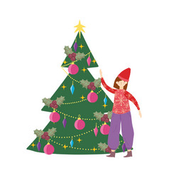 merry christmas woman with ugly sweater tree vector image