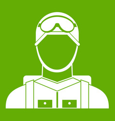 Military paratrooper icon green vector