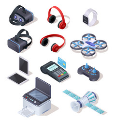 Modern electronic equipment realistic set vector