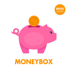 Moneybox icon on white vector