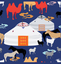 Mongolian animal husbandry vector