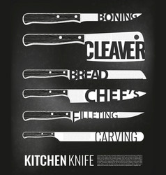 monochrome kitchen knives scheme set vector image