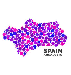Mosaic andalusia province map of round dots vector