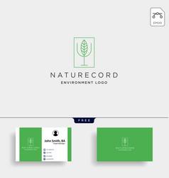Nature record leaf studio line badge simple logo vector