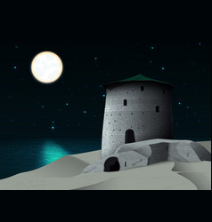 night landscape with a tower by the sea vector image