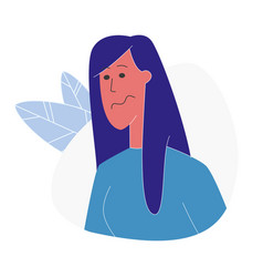 Offended woman portrait flat vector